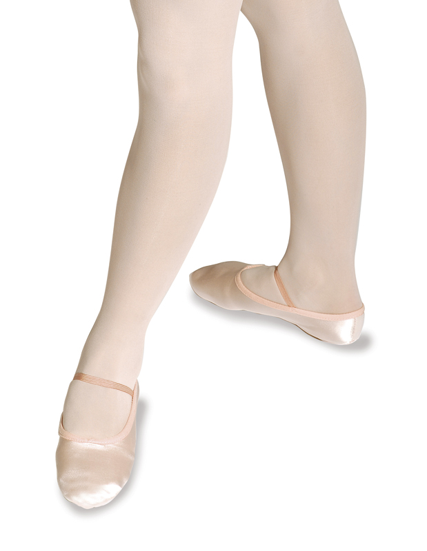 White Satin Split Sole Ballet Shoes